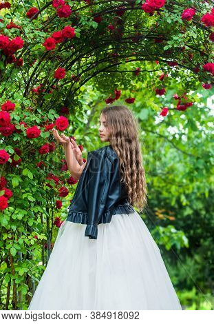 Trendy Girl Fancy Dress And Leather Jacket In Roses Garden, Brutal Collection Concept