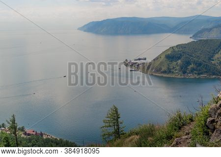Top View Of Green Mountains Near Bay Of Blue Lake Baikal The Mouth Of The Angara River From The Cher