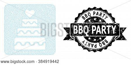 Bbq Party Rubber Stamp Seal And Vector Marriage Cake Mesh Structure. Black Stamp Includes Bbq Party
