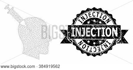 Injection Rubber Seal Imitation And Vector Head Injection Mesh Model. Black Stamp Includes Injection