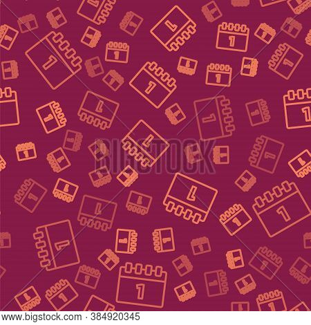 Brown Line Calendar With First September Date Icon Isolated Seamless Pattern On Red Background. Sept