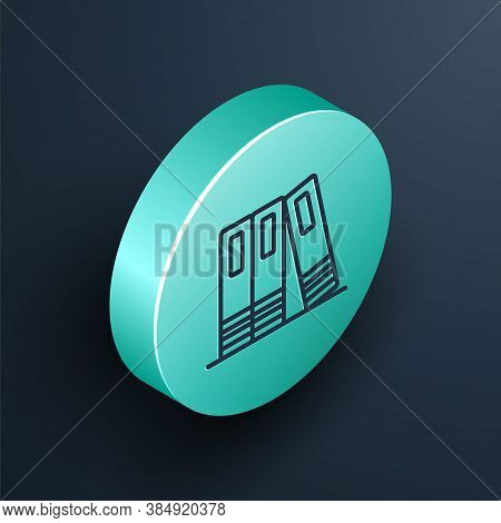 Isometric Line Office Folders With Papers And Documents Icon Isolated On Black Background. Office Bi