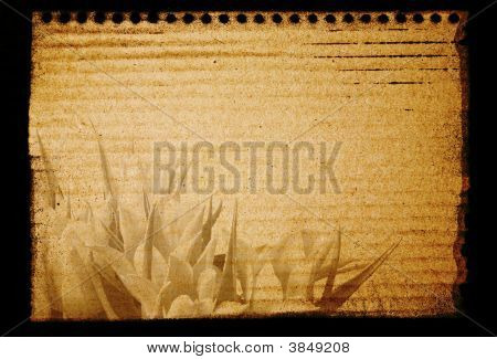 Old Style Notepad with Flowers. Ready for your message. poster