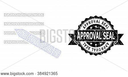 Approval Seal Grunge Seal Imitation And Vector Edit Text Mesh Structure. Black Stamp Includes Approv