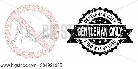 Gentleman Only Grunge Seal Print And Vector Forbidden Judo Struggle Mesh Model. Black Seal Includes