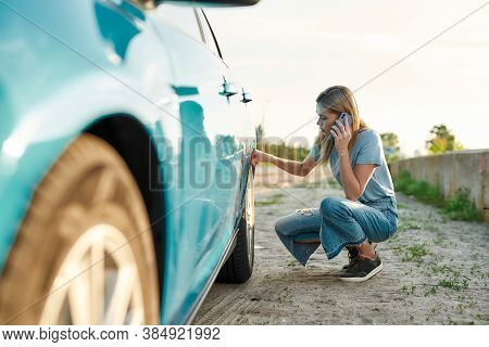 Attractive Young Woman Looking Sad, Calling Car Service, Assistance Or Tow Truck While Having Troubl
