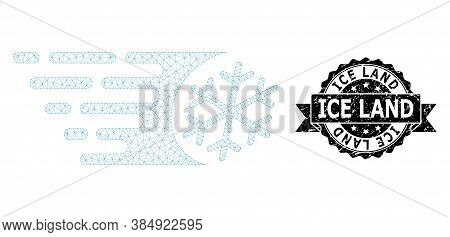 Ice Land Corroded Seal And Vector Fast Freezing Mesh Model. Black Seal Has Ice Land Title Inside Rib