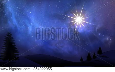 Christmas Star In The Night Sky Among Clouds And Stars