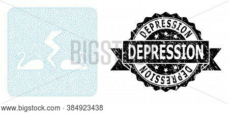 Depression Dirty Stamp And Vector Divorce Swans Mesh Model. Black Stamp Seal Includes Depression Tag