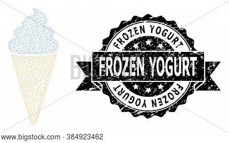 Frozen Yogurt Dirty Stamp Seal And Vector Ice Cream Mesh Model. Black Stamp Seal Includes Frozen Yog