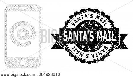 Santas Mail Rubber Seal Imitation And Vector Smartphone Address Mesh Structure. Black Seal Includes
