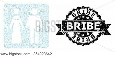 Bribe Rubber Seal Print And Vector Married Groom And Bribe Mesh Model. Black Stamp Seal Contains Bri
