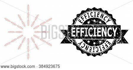 Efficiency Rubber Stamp Seal And Vector Sun Rays Mesh Model. Black Seal Contains Efficiency Title In