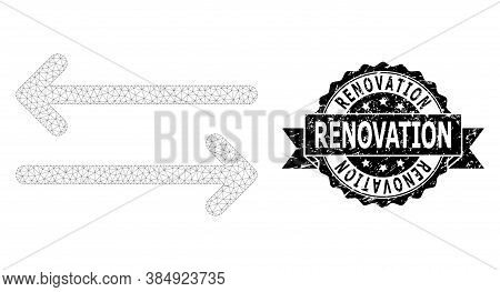 Renovation Rubber Stamp Seal And Vector Flip Arrows Horizontally Mesh Model. Black Stamp Has Renovat