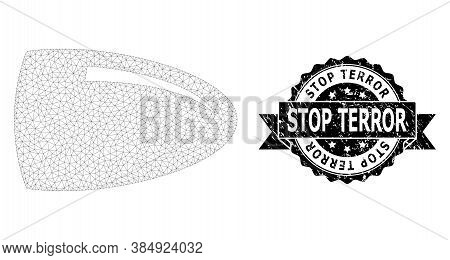 Stop Terror Textured Stamp Seal And Vector Bullet Mesh Model. Black Seal Has Stop Terror Title Insid