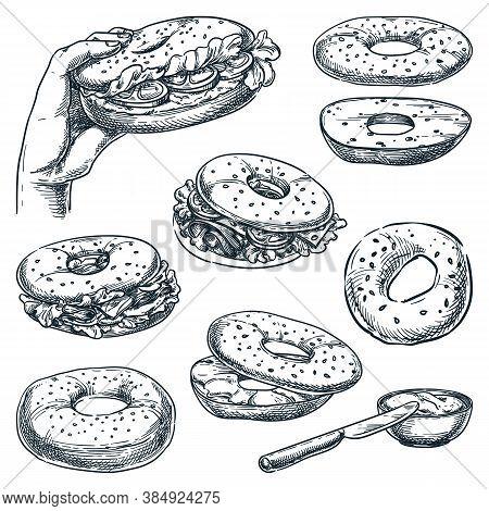 Bagel Bread And Sandwiches Set. Fast Food Snacks Vector Sketch Illustration. Cafe Lunch Menu Hand Dr