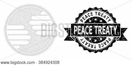 Peace Treaty Corroded Stamp And Vector Hands Circle Mesh Model. Black Stamp Seal Contains Peace Trea