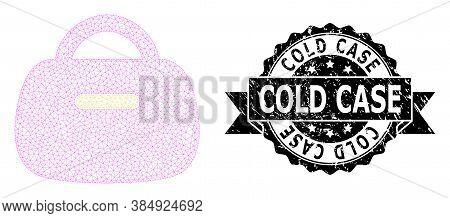 Cold Case Textured Stamp And Vector Handbag Mesh Structure. Black Stamp Seal Includes Cold Case Text