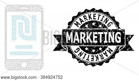 Marketing Unclean Stamp Seal And Vector Shekel Mobile Account Mesh Model. Black Stamp Includes Marke