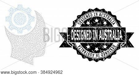 Designed In Australia Dirty Seal Print And Vector Human Intellect Gear Mesh Model. Black Seal Contai