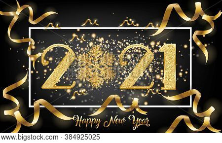 Golden 2021 New Year Number Design With Burst Glitter On Black Colour Background - Happy New Year 20
