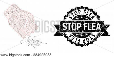 Stop Flea Rubber Seal Print And Vector Cockroach Punch Mesh Model. Black Seal Has Stop Flea Text Ins