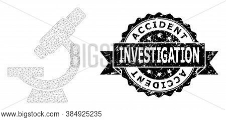 Accident Investigation Textured Stamp Seal And Vector Microscope Mesh Structure. Black Stamp Seal Co