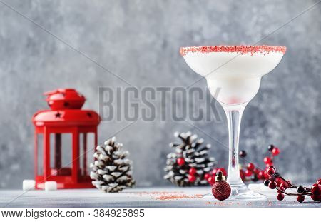 Snow Daiquiri, Christmas Or New Year Alcoholic Cocktail With Rum And Cream With Red Decor In Festive