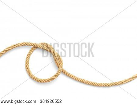 Knot made of rope, rope on a white background