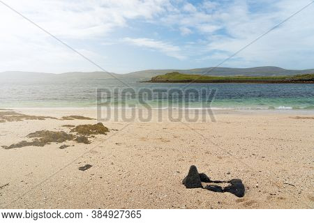 Close Up View Of Coral Beach And Sea On The Isle Of Skye, Scotland. Beautiful White Beach Is A Popul