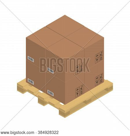 Cardboard Brown Boxes On The Wooden Pallet, Isometric Graphics. Vector Illustration.