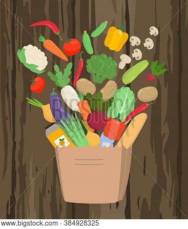 Paper Bag Full Of Food On Wooden Background. Grocery Delivery Service Concept. Vector Illustration.