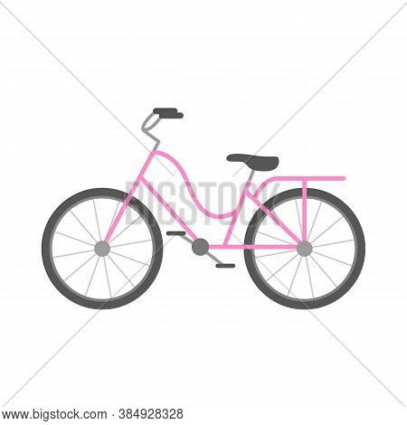 Classic Pink Bicycle, Sport Transport Icon. Vector Illustration.