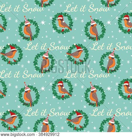 Hand Drawn Christmas Holiday Seamless Pattern. Cute Robin Bird In Elf, Red Santa Hat Colorful Cartoo