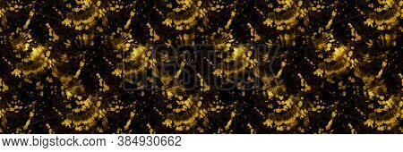Luxury Spiral Dyeing. Brown Psychedelic Texture. Yellow Spiral Painting. Hippies 1970s. Iridescent R