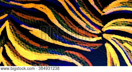 Tiger Patch. Multicolored Leather Animal. Vivid Tiger Print Fashion. Zebra Brush. Vivid African Anim
