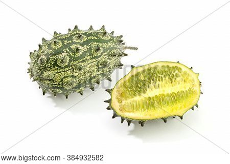 Kiwano, Spiked Melon Or Jelly Melon Isolated On White Background. Cucumis Metuliferus