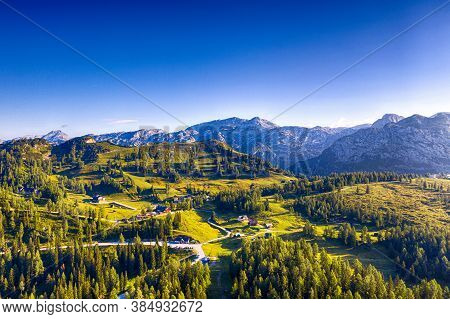 Tauplitz Alm In Styria During Summer. Beautiful Scenery In The Austrian Alps.