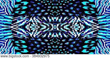 Acrylic Wash Background. Vivid Animal Print New. Bright Seamless Jaguar. Natural Leopard. Colorful A