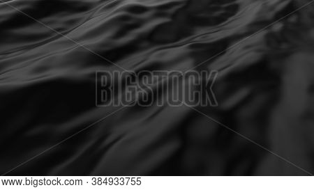 Abstract Smooth Surface With Ripples On A Black Canvas. Cloth With Waves. Fashion Luxury Textile. Mo