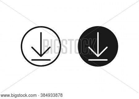 Download Arrow In Circle. Isolated Upload Button. Black Round Icon With Arrow Inside. Load Navigatio