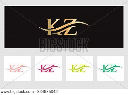 Initial Kz Logo Swoosh Design. Vector Kz Logo For Business And Company Identity