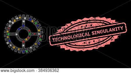 Glowing Mesh Web Clock Cog With Glowing Spots, And Technological Singularity Unclean Rosette Seal Im