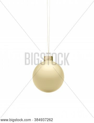 Matte Gold Christmas Ball Hanging On Golden String. Isolated On White Background. Christmas Decorati