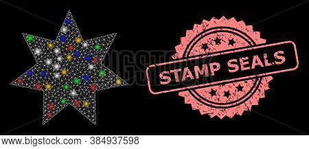 Bright Mesh Web Eight Corner Star With Bright Dots, And Stamp Seals Scratched Rosette Stamp Seal. Il