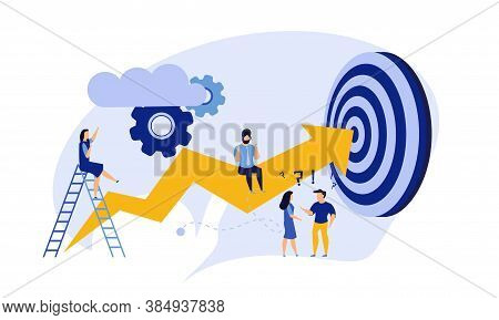 Business Progress Man And Woman Vector Success Challenge Employee. Journey Job Target Action Career