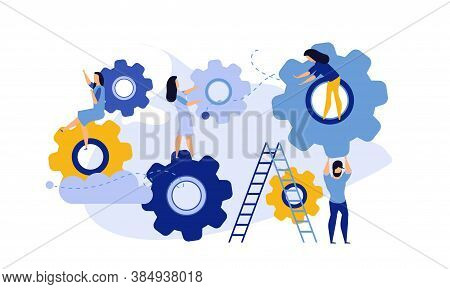 Man And Woman Business Organization With Circle Gear Vector Concept Illustration Mechanism Teamwork.