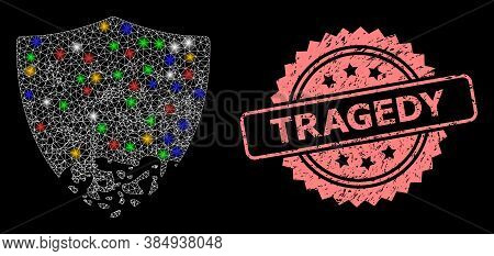 Glare Mesh Network Damaged Shield With Light Spots, And Tragedy Textured Rosette Stamp Seal. Illumin