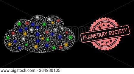 Glowing Mesh Net Cloud With Glowing Spots, And Planetary Society Unclean Rosette Seal Print. Illumin