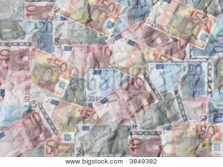 Crumpled Euros Background